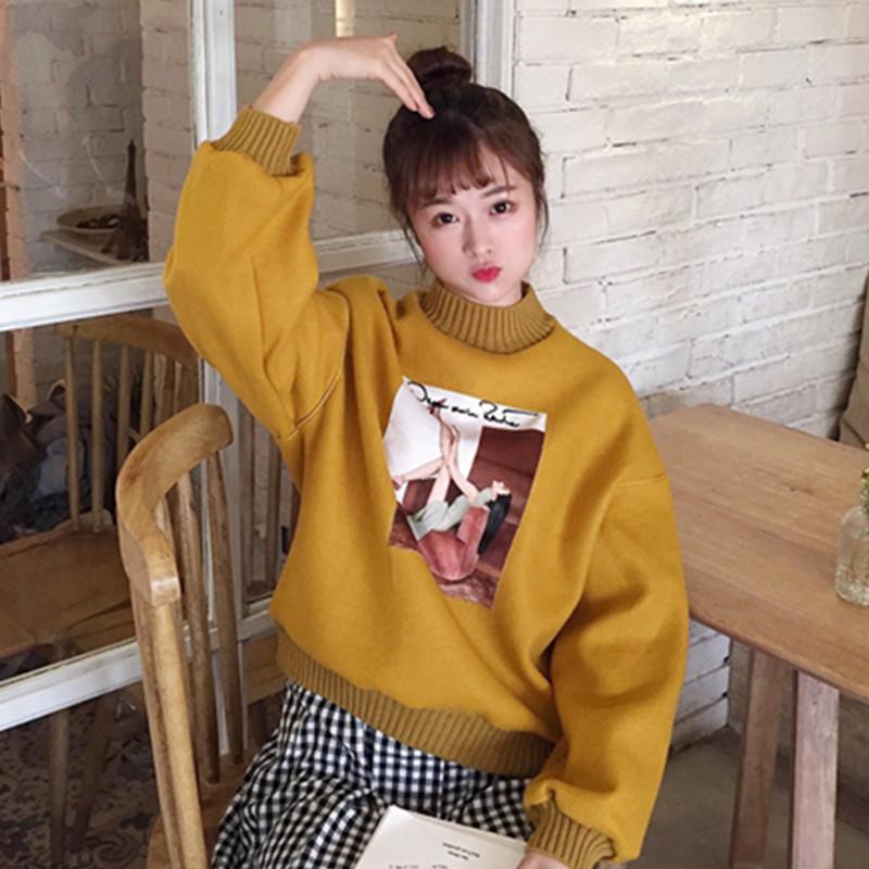 2017秋冬女装新款韩版半高领卡通贴画宽松学生百搭套头卫衣外套潮