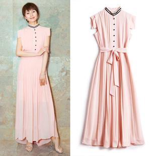袁泉同款收腰裙子女2020新款春夏季气质百褶长裙粉红色礼服连衣裙