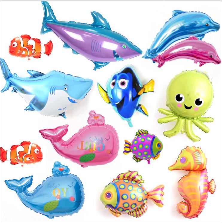 新款婚庆生日布置气球 鲨鱼鲸鱼海豚龙虾热带鱼海洋系列铝膜气球