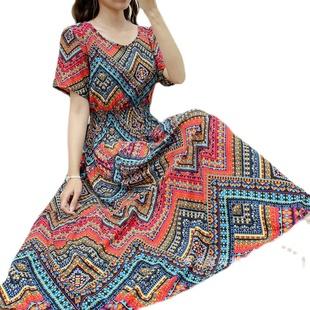 短袖大摆棉绸波西米亚民族风连衣裙