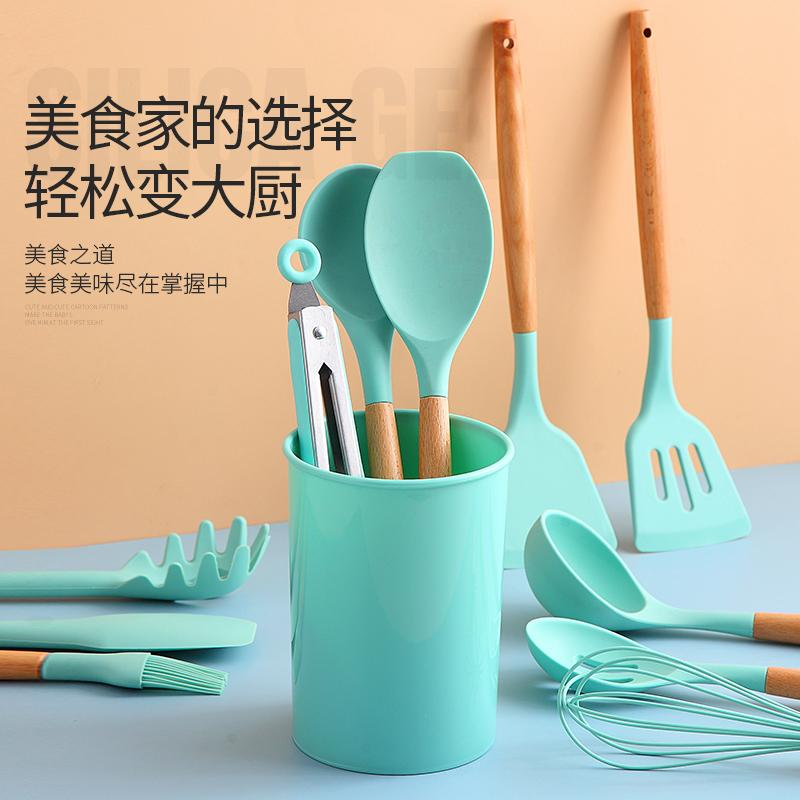 硅胶锅铲厨具家用厨房炒菜铲子勺子炒勺不粘锅专用汤漏勺厨具套装
