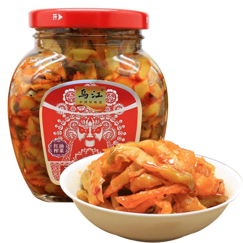 乌江酱菜泡菜红油榨菜瓶装红版300g美味可口酱菜下饭