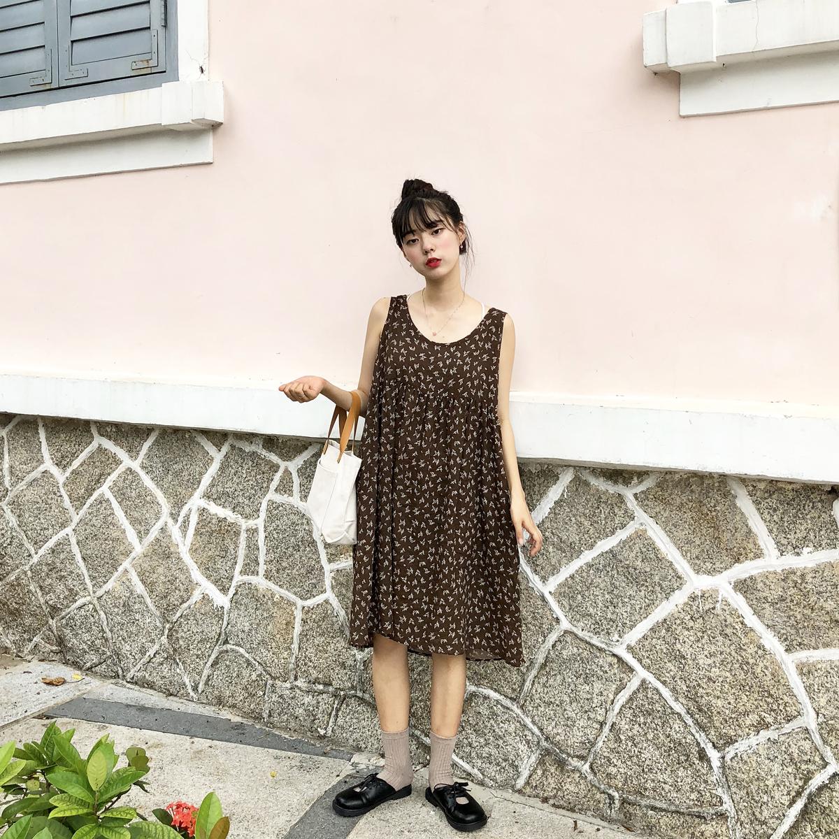 YUKI小树家 自制苎麻炒鸡舒适面料碎花棕色连衣裙韩国新款 q0708