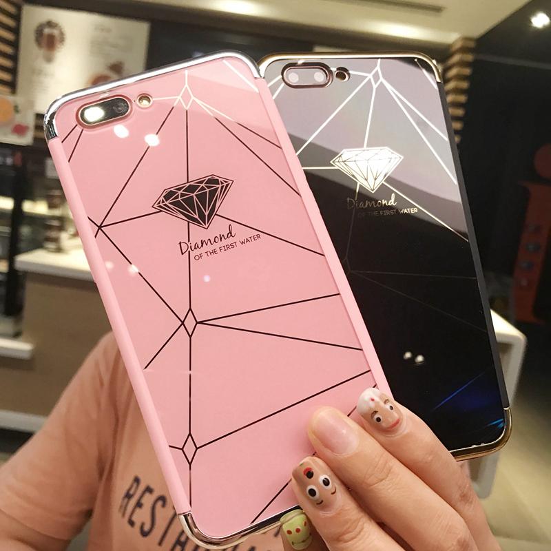 奢华钻石镜面oppoa59s手机壳女款a59m全包防摔壳a57简约情侣款潮