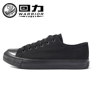Warrior / Pull back simple men and women couples all black low-top canvas shoes work shoes casual sports shoes board shoes
