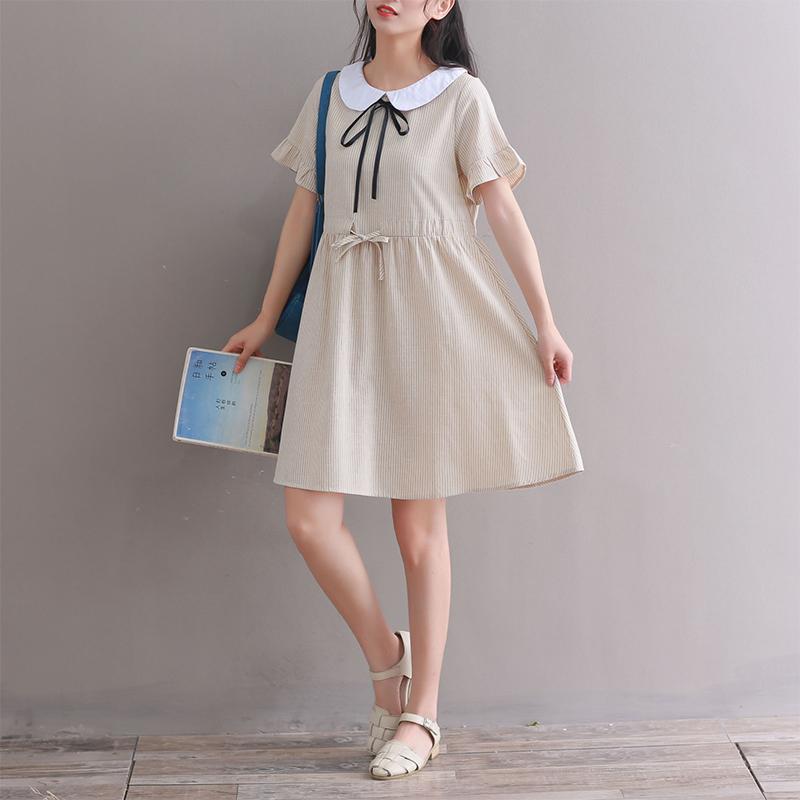 实拍2020夏季新款棉麻连衣裙学院风小清新娃娃领文艺范3280 -