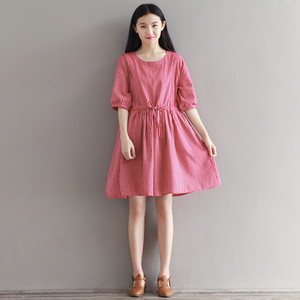 Maternity dress spring new women's maternity skirt forest art retro red loose large size cotton and linen dress tide sum
