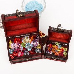 红宝石水晶七彩色女孩七彩石塑料玩具宝石玩具过家家七彩色儿童亚
