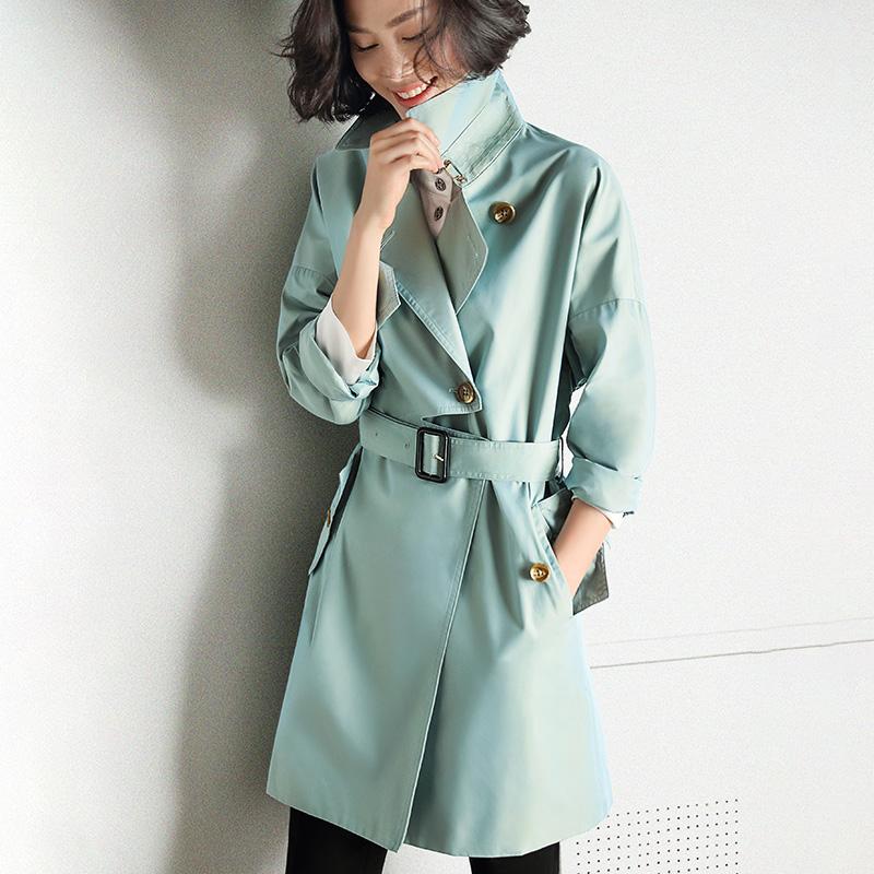 隆缘裳春秋系带显瘦单排扣休闲外套