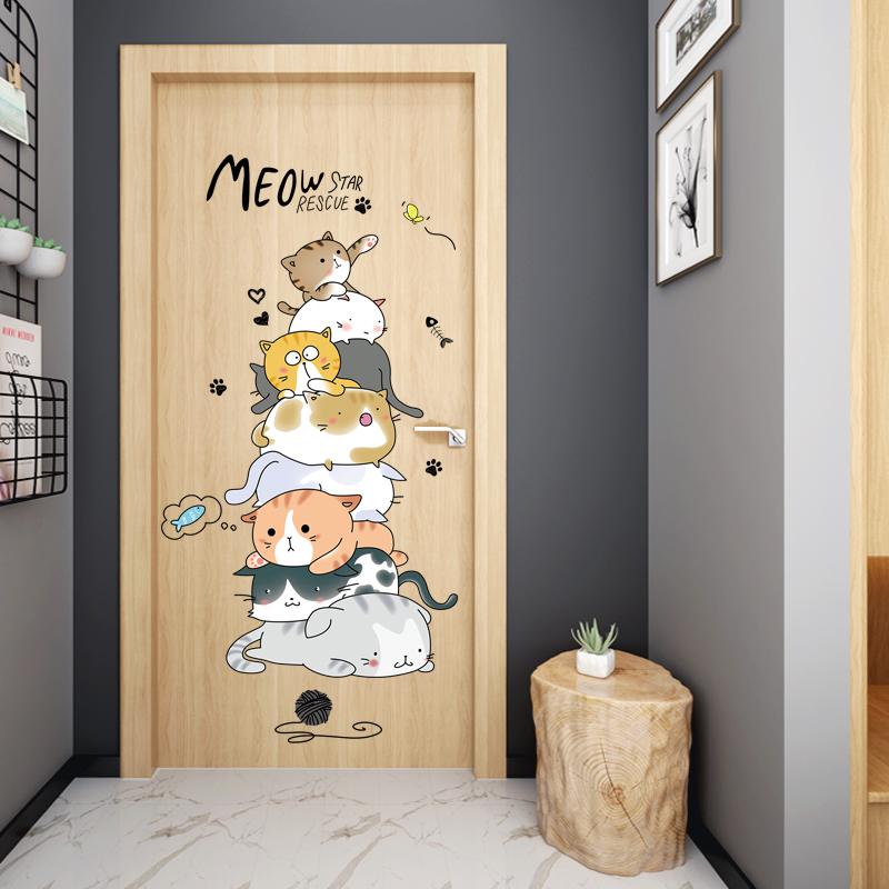 ins网红出租屋改造墙贴寝室宿舍个性创意门贴纸卧室房间装饰神器