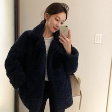 2021冬季韩国宽松羊羔毛棉衣ki12套女装te短外套加厚