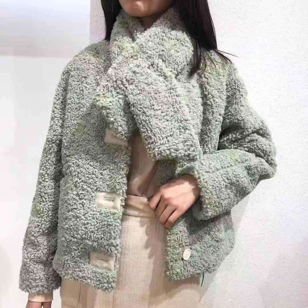 FST女 2018冬装韩版宽松网红羊羔毛围巾两件套加厚圈圈毛短款外套