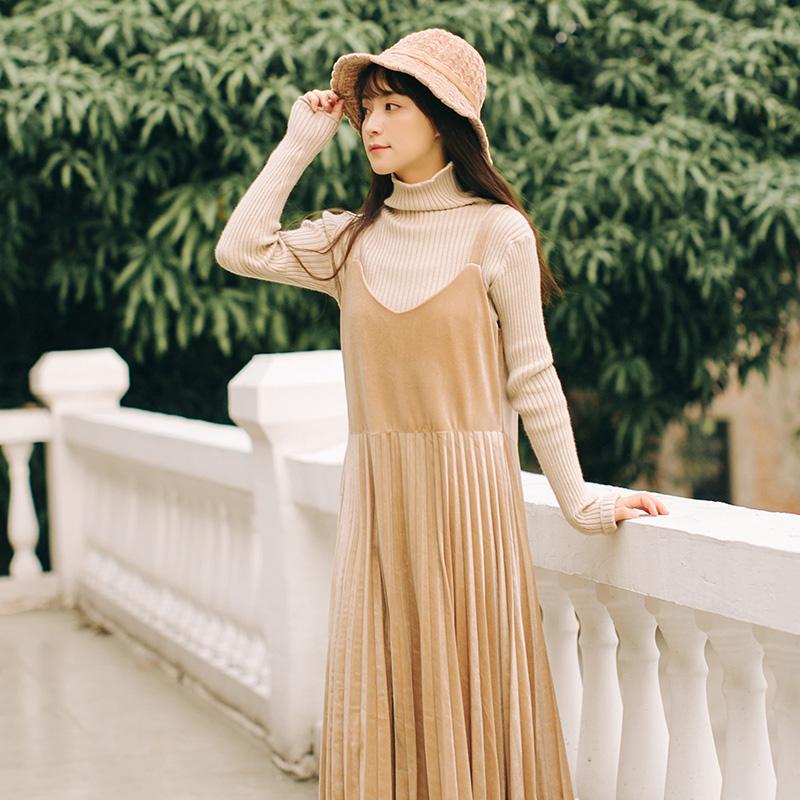 2018冬装新款桔梗裙复古法式金丝绒背带裙打底百