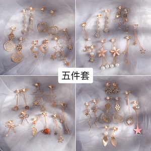 Ear clip set without piercings female autumn and winter earrings wild retro hong kong flavor immortal super super fairy earrings