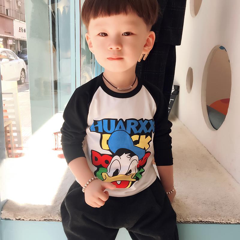 男童长袖T恤纯棉打底衫秋季休闲儿童纯棉T恤宝宝长袖上衣韩版潮流