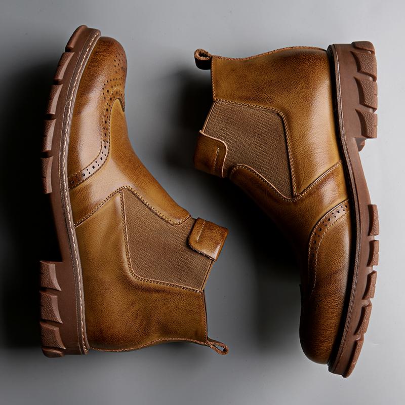 真皮马丁靴男士雪地靴子中帮秋冬季高帮英伦工装靴男切尔西靴男鞋