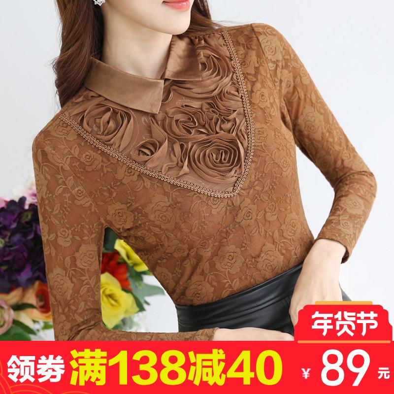加绒加厚蕾丝衫女2017秋冬装新款韩版女装上衣娃娃领长袖打底衫女
