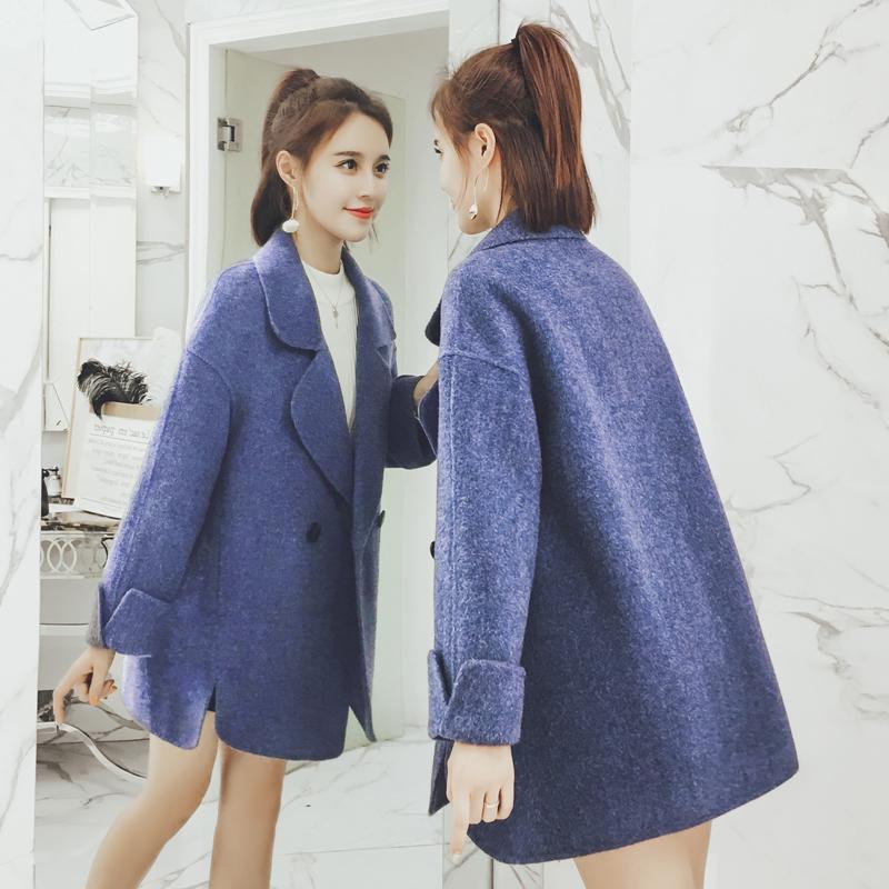 2018秋冬新款毛呢外套女中长款韩版宽松显瘦小个子茧型呢大衣外套