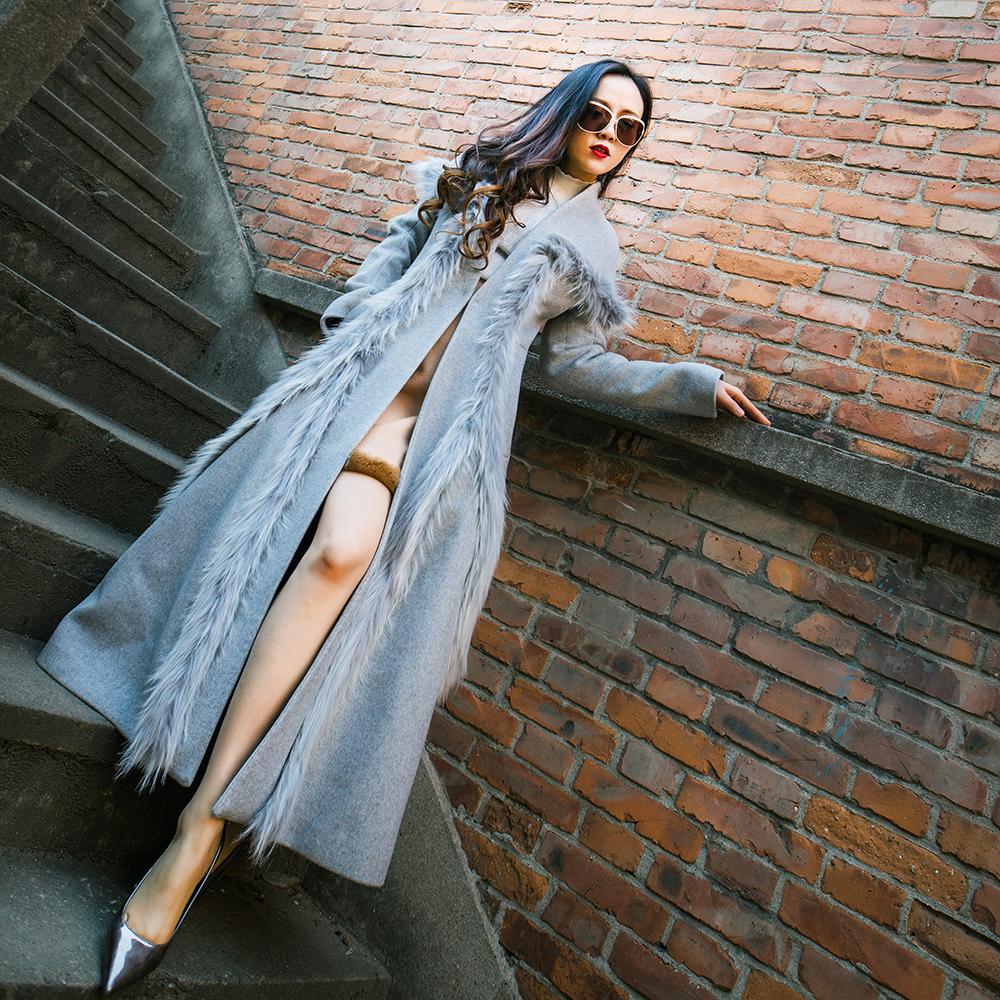 迷世妖姬新款时尚修身显瘦拼接皮草羊毛呢子大