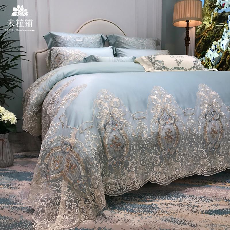高端蕾丝公主风100支埃及棉四件套 欧式纯棉样板房间床上用品新品