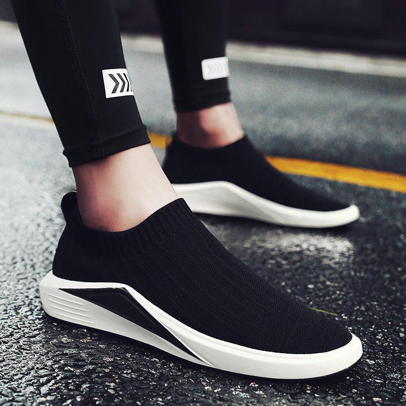 夏季帆布鞋男韓版透氣男鞋子一腳蹬襪子鞋懶人鞋男士休閑潮鞋布鞋
