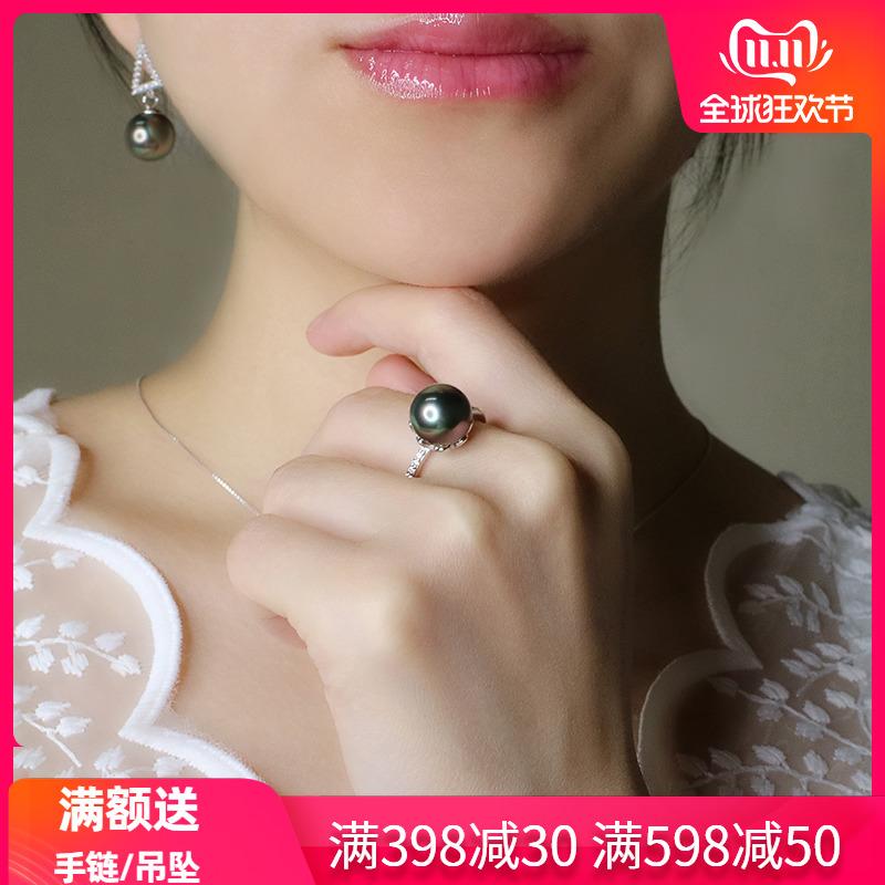 顺景 新款大溪地母贝珠925银镶钻镀18k金指环正圆强光黑珍珠戒指