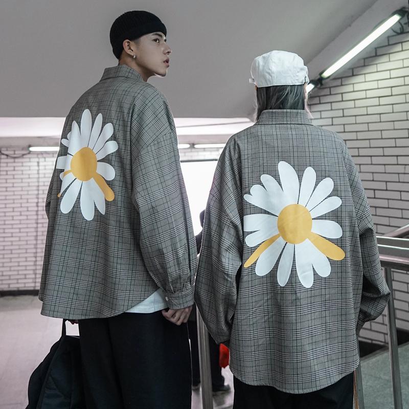 @方少男装 2020春季情侣宽松格子长袖衬衫男ins韩版大印花衬衣潮