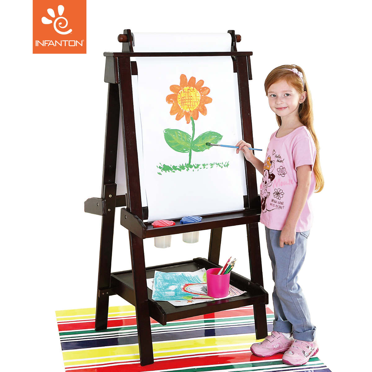 Infanton正品双面磁性可升降实木儿童画板画架支架式黑板写字板