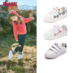 Belle children's shoes children's skate shoes 2019 autumn new children's fashion small white shoes girls stars casual shoes