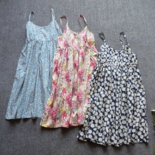 田园碎花吊带裙 纯棉布打底裙hn11滩度假rt背连衣裙(小)清新