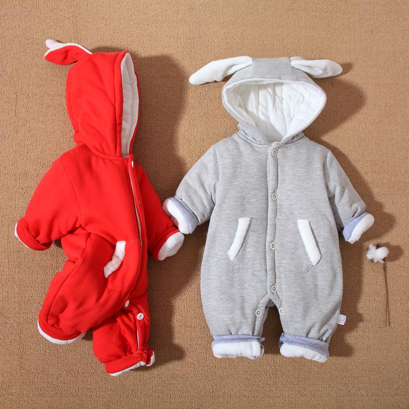 婴儿连体衣秋冬季新生儿衣服纯棉加厚初生宝宝保暖加绒棉服冬装潮