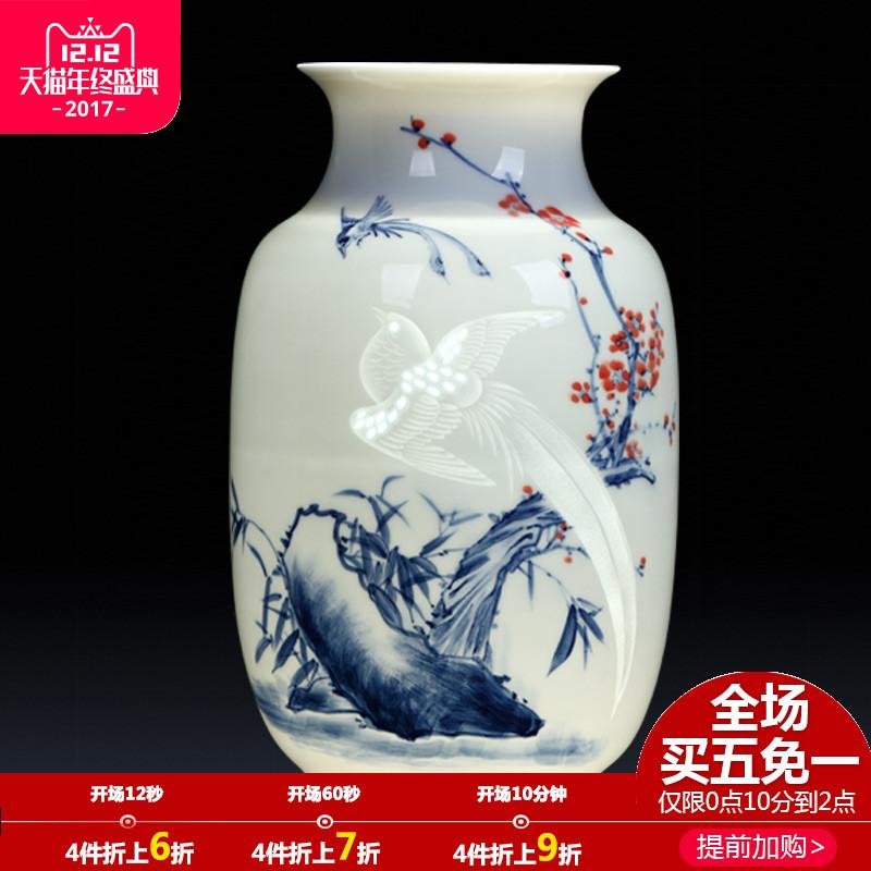 景德镇陶瓷花瓶摆件名家大师手绘雕刻浮雕花瓶客厅酒柜装饰品礼品