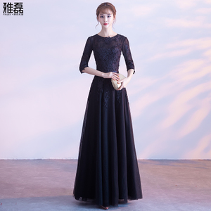 Evening dress long section 2017 new black Slim thin banquet host dress elegant noble lady dress