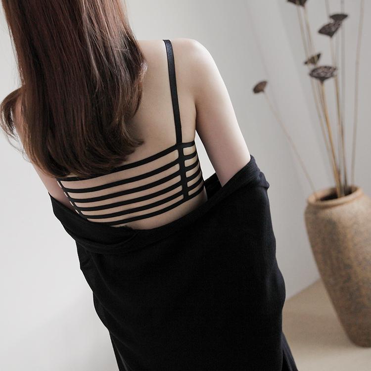 一片式美背神装 含胸垫牛奶丝爽滑镂空小吊带背心女抹胸裹胸内衣