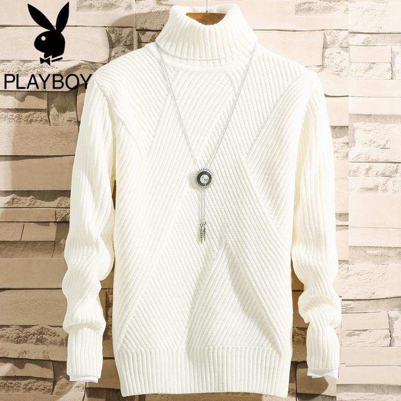 花花公子男士高领毛衣加厚冬季韩版白色2018新款修身打底针织衫潮