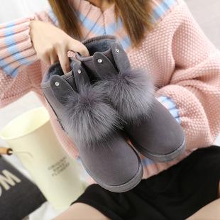 雪地靴女2020冬季新款韩版短筒蝴蝶结可爱绒面短靴子学生平底棉鞋
