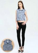欧美新款条纹ss3领外贸单lr甲蓝牛仔套装迷彩印花无袖女装两件