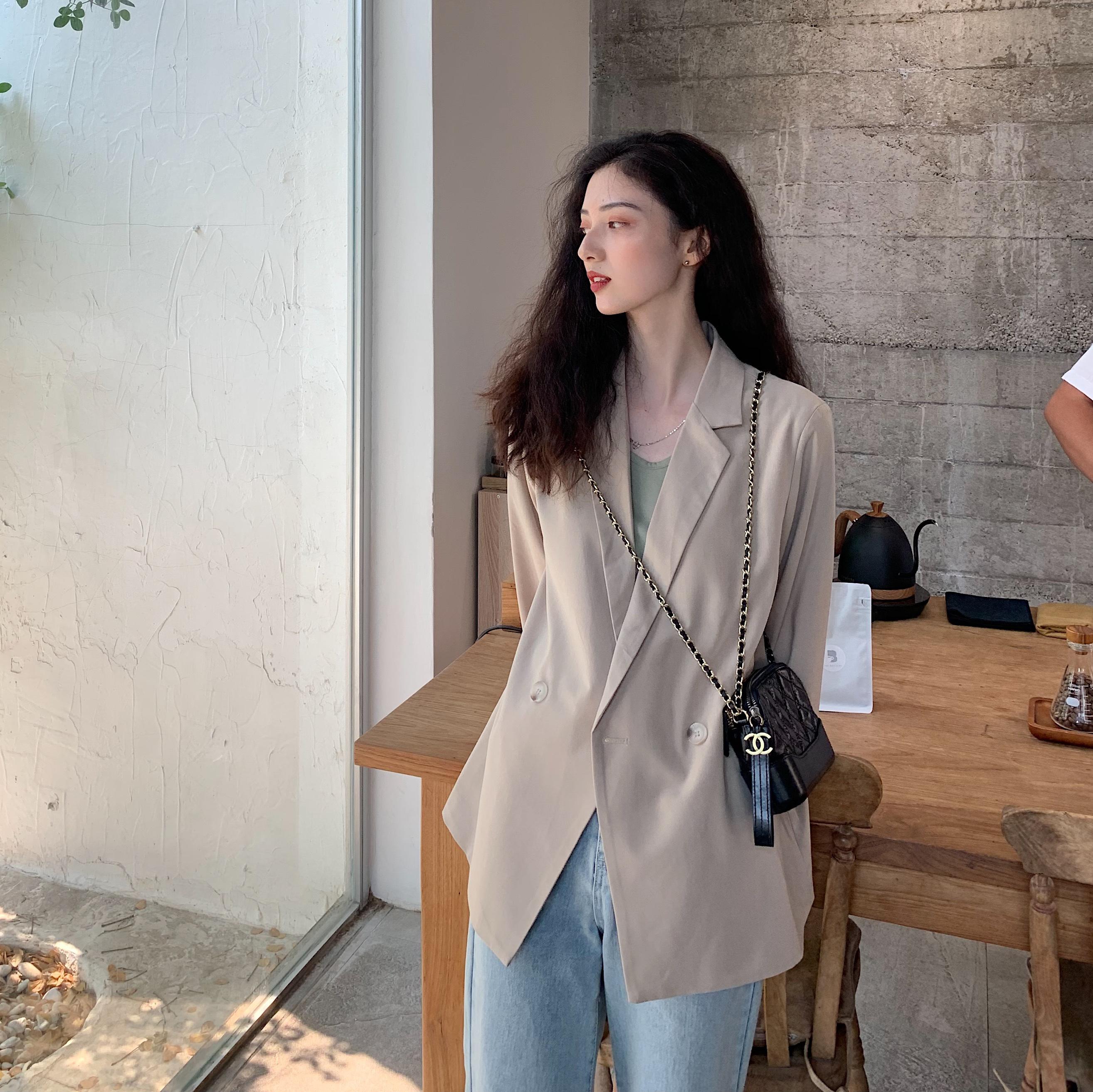 fullmoon薄款西装短外套女2019夏季新款韩版宽松显瘦chic小西服
