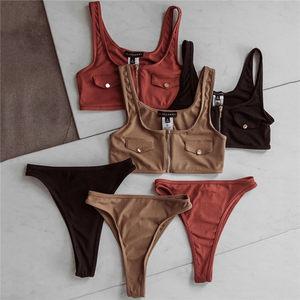 2020欧美新款针织纯色假口袋比基尼拉链泳衣女士性感高腰分体泳装