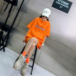 2020新款短袖t恤女潮夏季桔色纯棉宽松韩版ins半袖上衣夏装bf风图片