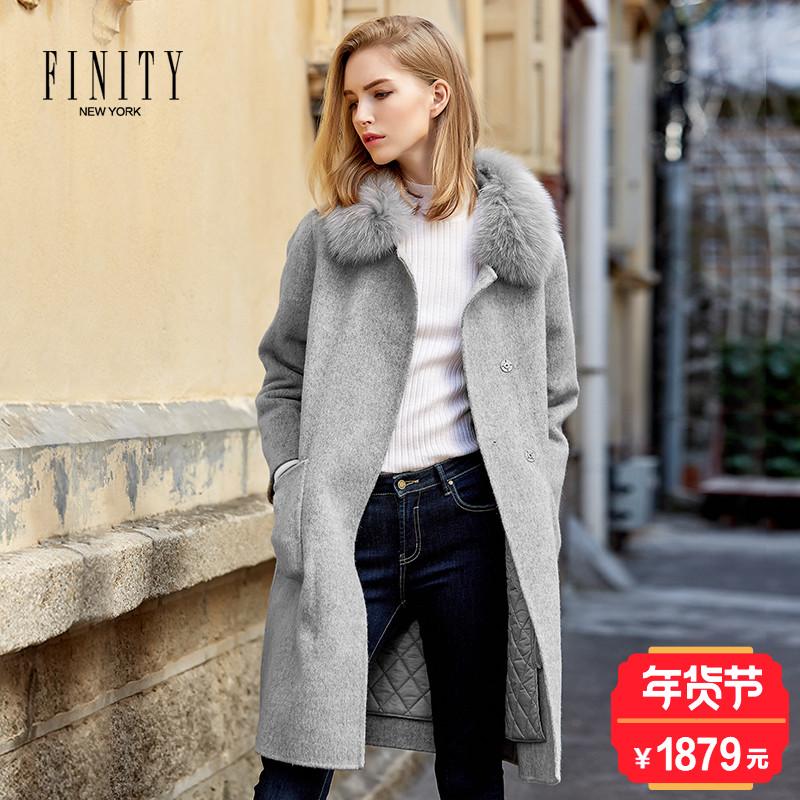 菲妮迪商场同款冬季新款狐狸毛领中长款羊毛呢大衣夹棉外套加厚女