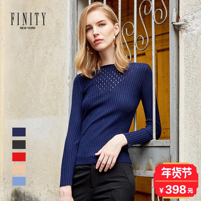 菲妮迪商场同款秋冬装2017新款羊毛百搭圆领显瘦短款镂空针织衫