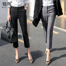小个子西装裤女夏薄款八分高腰裤子女直筒九分西裤夏季职业烟管裤