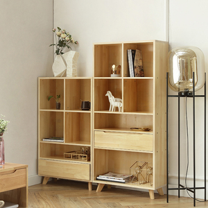 Nordic solid wood bookcase bookshelf modern home combination cabinet simple storage cabinet small apartment bookcase with drawers