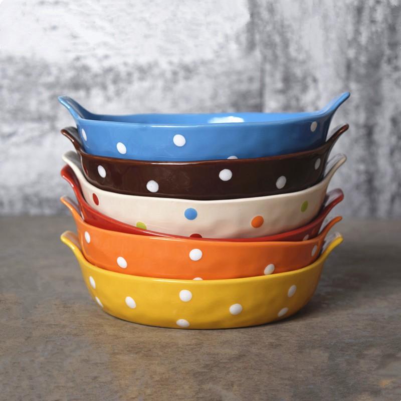欧创意陶瓷菜盘波点西餐盘托盘牛排盘子彩色餐具早餐盘圆平盘