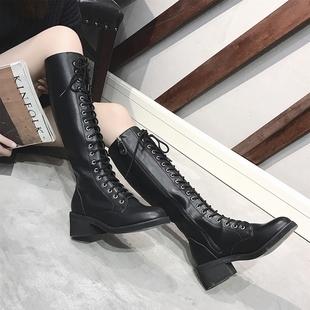 系带长靴女冬季2017新款机车靴子拉链过膝长筒靴高筒粗跟骑士靴潮