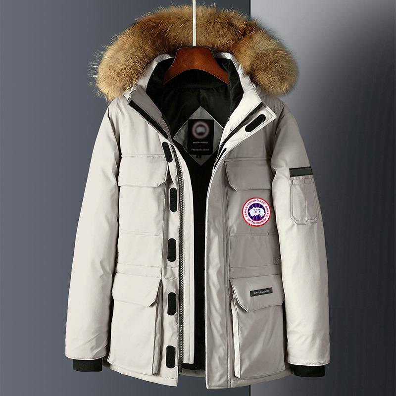 加拿大风羽绒服男2019冬季滑雪服女士工装中长款大鹅毛领派克外套