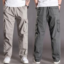 休闲裤男春夏季多口袋长裤zh9佬加肥加mi裤直筒宽松工装裤