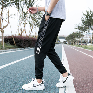 裤子男士韩版潮流宽松迷彩裤时尚百搭运动休闲青年个性九分裤