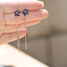 (小)巧秀气五叶花锆石流苏耳环92ln12银针耳yq长式耳坠饰品